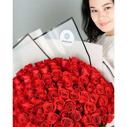 Купить на заказ Букет из 101 красной розы с доставкой в Шалкаре