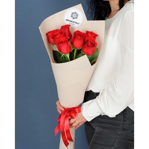 Купить на заказ Букет из 7 роз с доставкой в Шалкаре